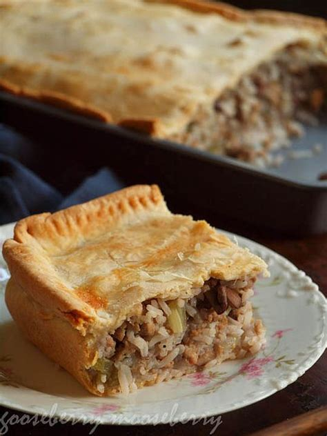 savory pie with meat rice and mushroom filling our