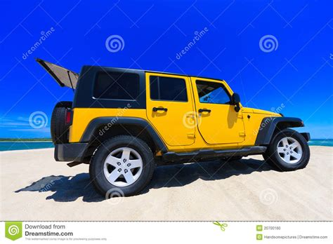 yellow jeep on yellow jeep on the beach stock photo image 20700160