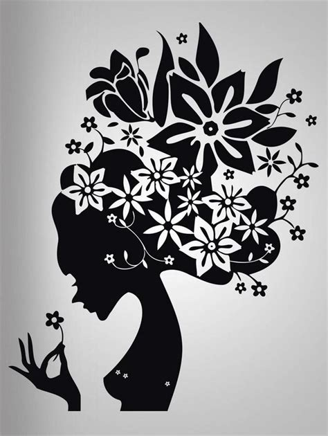 silhouette home decor flower hair girl decal wall sticker art home decor stencil