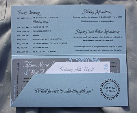cruise wedding invitations wording light blue gray swirls and cruise ship boarding pass