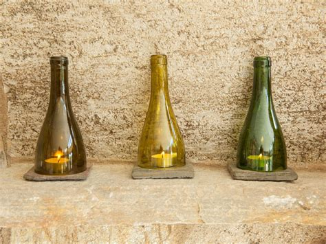 Handmade Wine - handmade maine wine bottle tealight holders by