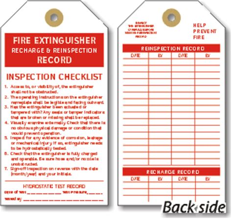 extinguisher inspection tag template extinguisher tags extinguisher inspection tags