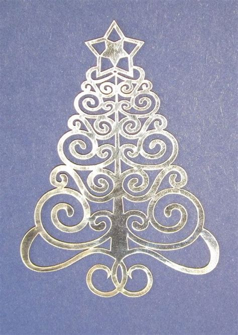5x laser cut filigree christmas tree card toppers