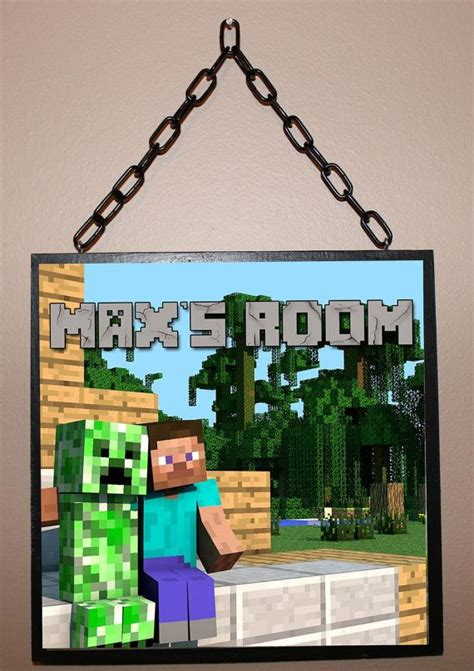 name plaques for rooms custom name sign minecraft inspired personalized wood wall decor sign plaque on etsy