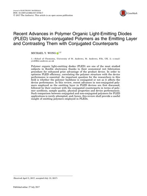 light emitting diodes based on conjugated polymers 28 images polymers free text light
