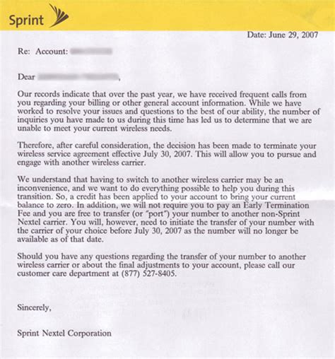 Termination Letter For Billing Company Sprint Cuts Ties With Troublesome Subscribers Intomobile