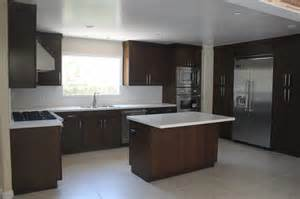 Flat Kitchen Cabinets by Modern Kitchen Remodel Using Custom Flat Panel Walnut Wood