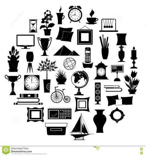 icon interior design xiaxue silhouette of home decor vector illustration stock