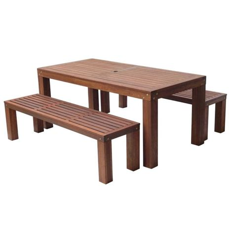 Outdoor Wooden Dining Table and Benches Set 180cm   Buy