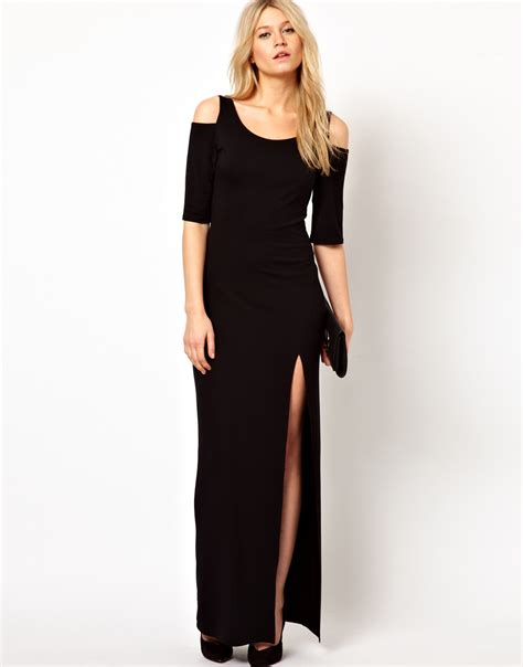 Safia Emboss Dress lyst maxi dress with cold shoulder and thigh split in black