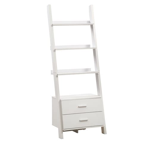 ladder bookcase white white 69 quot h ladder bookcase with 2 storage drawers