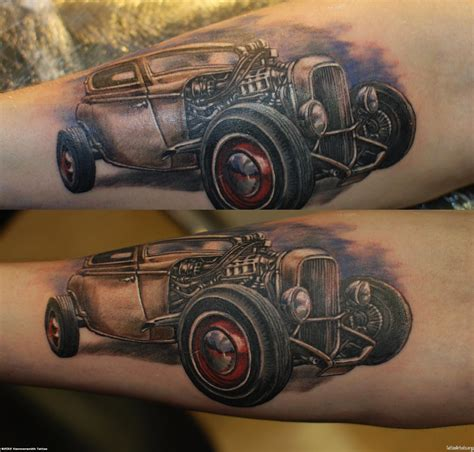 tattoo hot rod art car tattoos grey ink hot rod car tattoo on arm cool