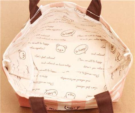 Rillakuma Bag Canvas Jinjing Pink checkered rilakkuma canvas linen handbag gingham