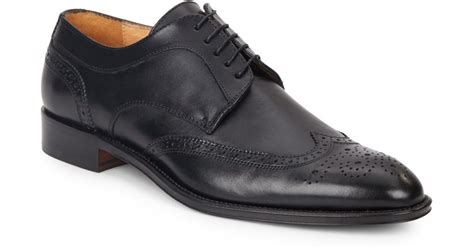 saks fifth avenue leather wingtip shoes in black for