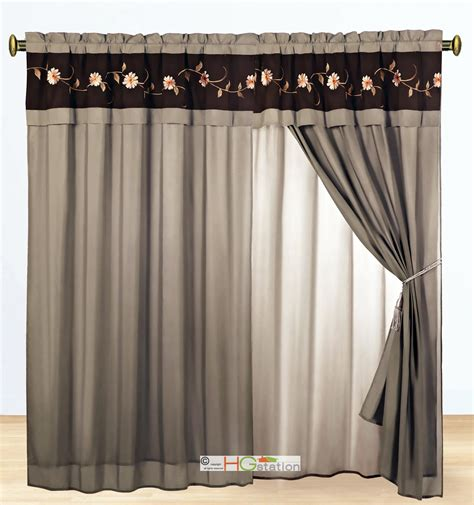 Taupe Striped Curtains 11 Pc Floral Scroll Embroidery Stripe Comforter Curtain Set King Taupe Brown Ebay