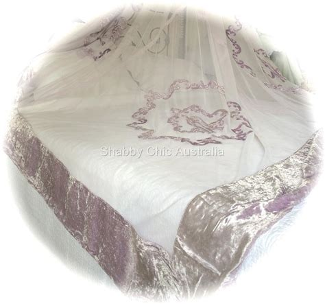 shabby bella chic french lace velvet queen king bed quilt lavender bedspread ebay