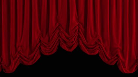 go on and close the curtains opening and closing red curtain 3d animation stock
