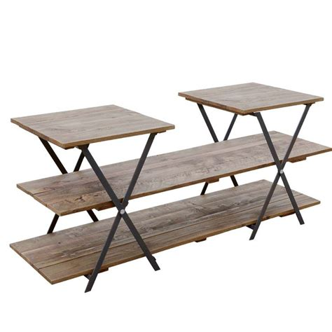 retail display wooden table with mulitple levels trestle
