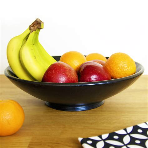fruit bowl black ceramic fruit bowl by kartimarket