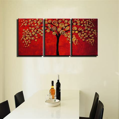 home decoration modern 3 piece wall decor pictures for 3 panel canvas wall art modern abstract acrylic piece red
