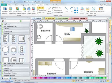 architectural layout software free 2d drafting software edraw