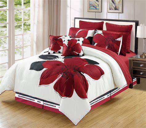 black n white comforter sets 12 piece burgundy red black white floral king size bedding