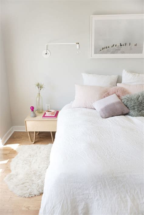 bedroom pastel simple serene bedroom with gray walls white bedding