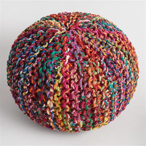 Kitchen Furniture Online Shopping Multicolored Knitted Sari Pouf World Market