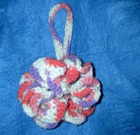 purple and cream bathroom crocheted made usa bath shower puff cotton pink purple cream 100 percent cotton other