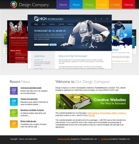 what are html templates 20 free and premium corporate html css templates