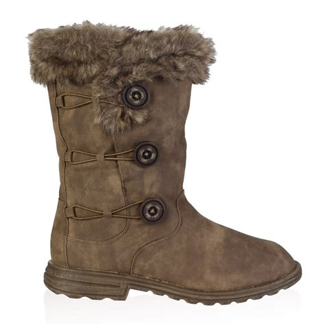 Squishy Snow Boots soft faux fur lined womens button winter snow calf boots shoes size 5 10 ebay
