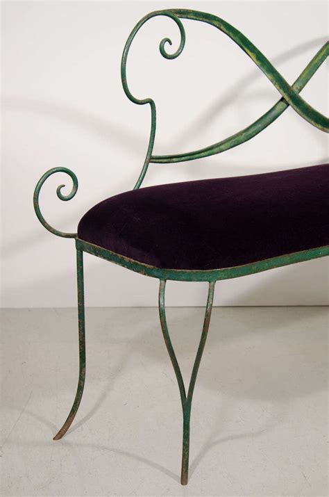 small metal bench small italian green metal bench with purple velvet seat at 1stdibs