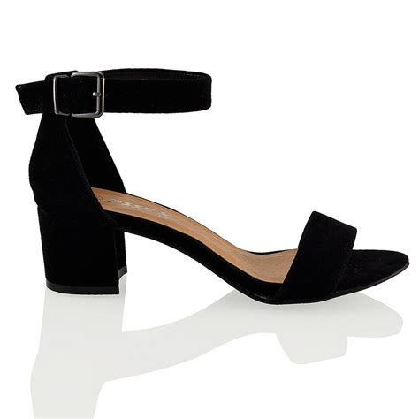 womens block low heel peep toe buckle ankle sandals shoes size 3 8 ebay