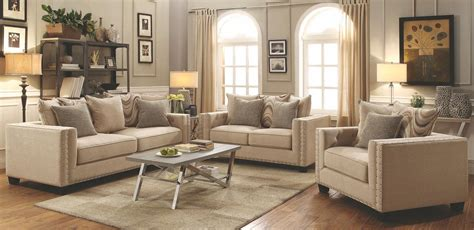 Beige Living Room Set Lyonesse Beige Living Room Set From Coaster Coleman Furniture