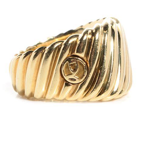 david yurman 18k yellow gold cable cigar band ring 7 80410