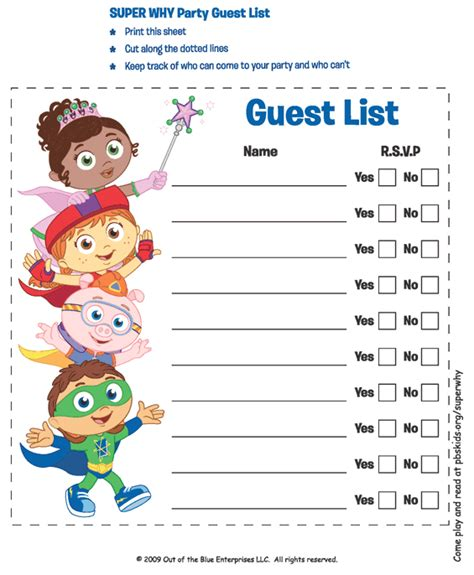 printable birthday card list super why party ideas guest list kids birthday parties