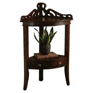 Powell furniture 853 269t2 bombay gallery corner accent table in java