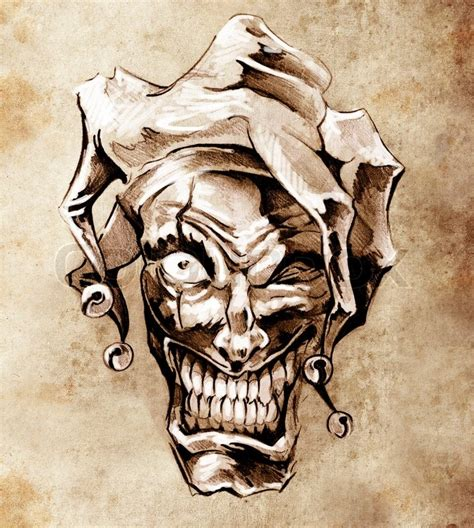 sketch of tattoo art joker fantasy clown joker skizze tattoo kunst 252 ber schmutzigen