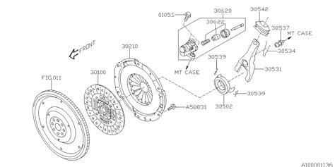 30531aa220 Genuine Subaru Lever Clutch Release