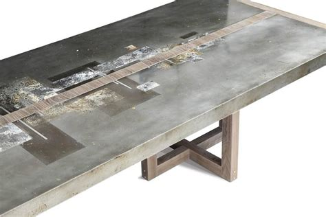 walnut bronze and acid etched copper dining table by quot divided lands quot dining table in etched zinc and elm smoke