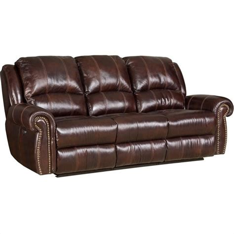 furniture seven seas leather power sofa in saddle