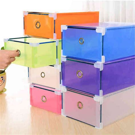 Multi Coloured Plastic Storage Drawers by Multi Color Plastic Shoe Storage Box Boot Foldable