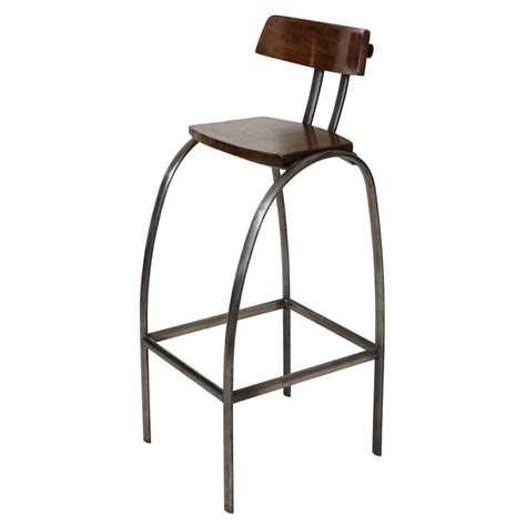 Wooden Bar Stool With Back Steel Bar Stool With Wooden Seat And Back At 1stdibs