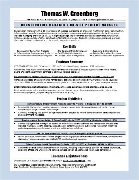 construction project management resume exles construction manager resume sle