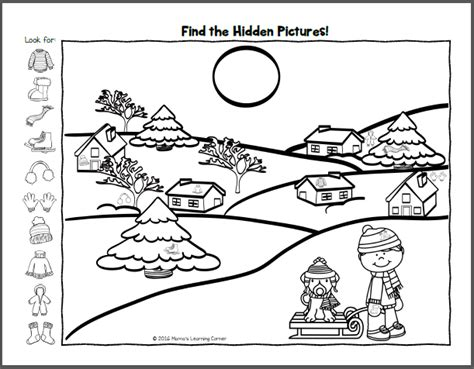 find it winter hidden picture worksheets mamas learning