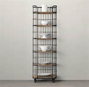 Narrow Bakers Rack With Wood Shelves Circa 1900 Caged Baker S Rack Narrow Single Shelving