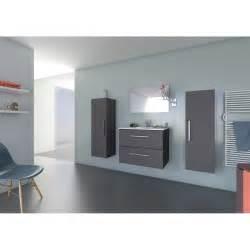 meuble sous vasque miroir l 70 x h 64 x p 48 cm gris