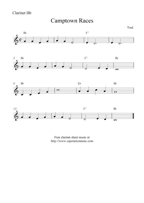 printable sheet music for clarinet ctown races free easy clarinet sheet music notes