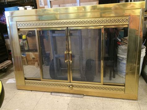 Brass Fireplace Screen With Glass Doors Gold Brass Metal Fireplace Frame 49 Quot X33 Quot Clear Glass Door Sliding Screen 2 Pane Ebay