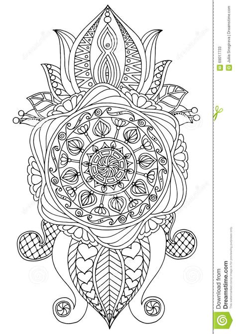 Hand Drawn Black And White Mandala. Islam, Arabic, Indian